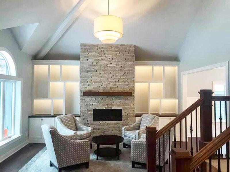 White Painted Living Room and Fireplace | Interior Painters Kalamazoo, MI | Van Tuinen Painting