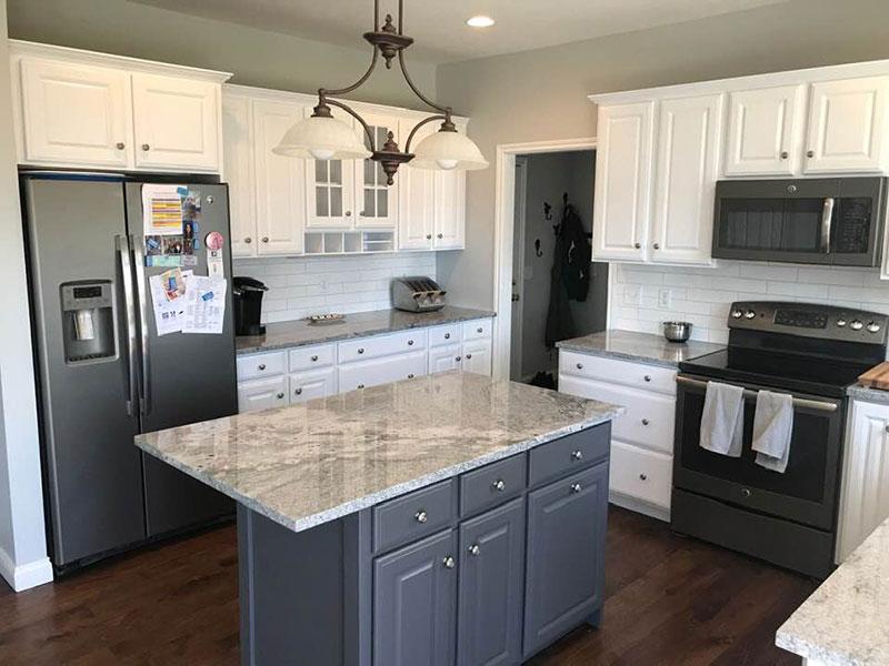 White Kitchen Cabinets With Splash Tile | Cabinet Kitchen Refinishing Painting Kalamazoo, MI | Van Tuinen Painting
